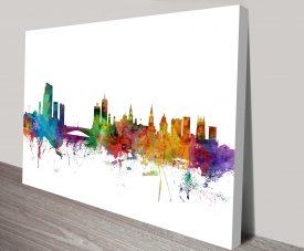 leeds england skyline by michael tompsett wall art canvas