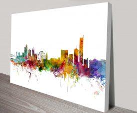 manchester england skyline by michael tompsett wall art canvas