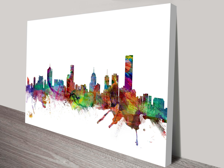 melbourne skyline by michael tompsett canvas print australia & Melbourne Skyline By Michael Tompsett Wall Art Print