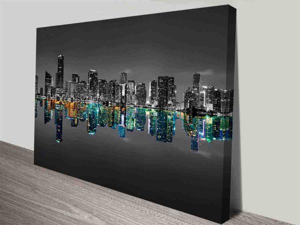 black and white midtown miami skyline wall art canvas print