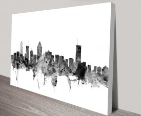 montreal canada skyline by michael tompsett wall art canvas