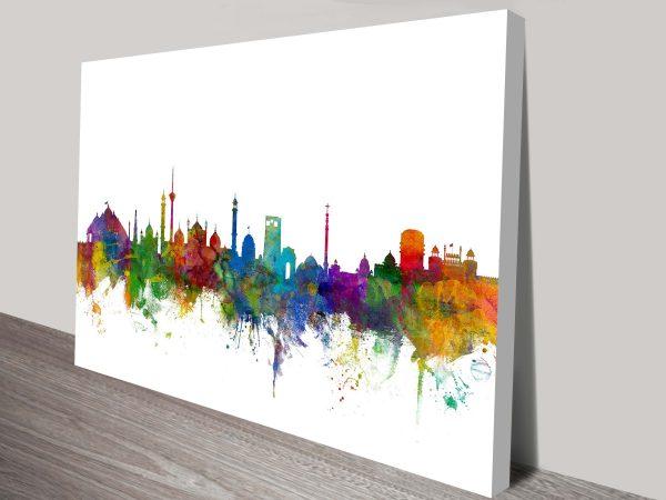 new delhi india skyline by michael tompsett wall art canvas