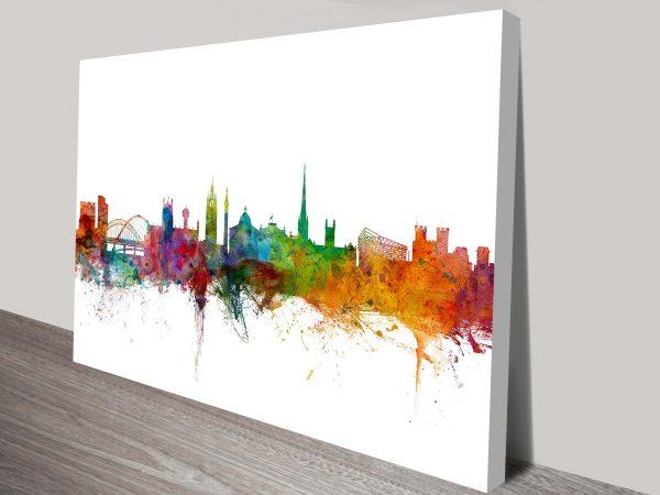 newcastle england skyline by michael tompsett wall art canvas