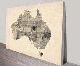old postcard map of australia by michael tompsett wall art canvas