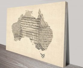 old sheet music map of australia map wall art print