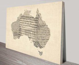 old sheet music map of australia map wall art print