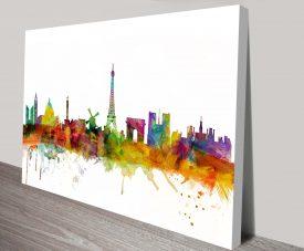 Glasgow Skyline Watercolour Canvas Print