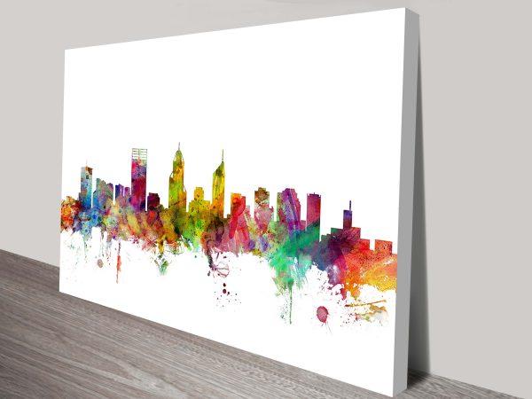 perth australia skyline by michael tompsett wall art canvas