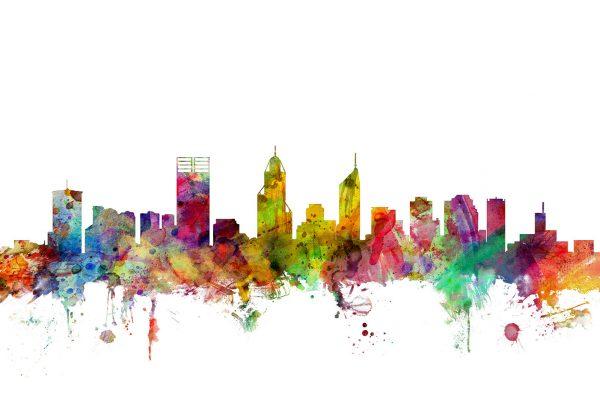Perth Australia Watercolour Skyline Canvas Print