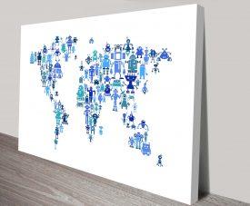 robot map of the world map by michael tompsett wall art canvas