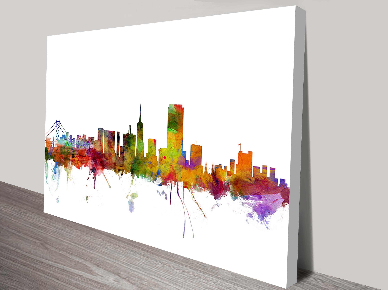 san francisco city skyline wall canvas prints australia. Black Bedroom Furniture Sets. Home Design Ideas