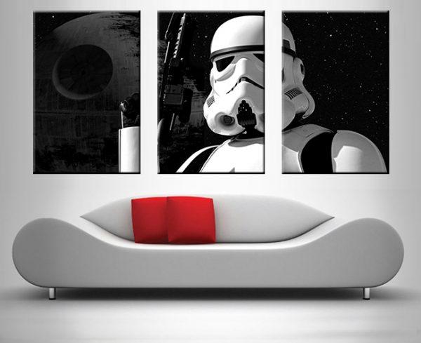 stormtrooper 3 panel wall art canvas print
