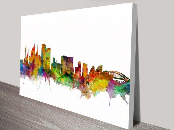 sydney australia skyline by michael tompsett wall art canvas