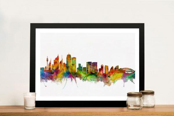 Sydney-Australia-Watercolor-Skyline-Framed-Wall-Art