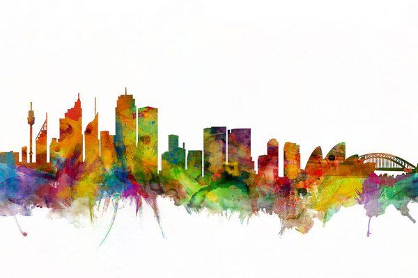 Watercolour Sydney Skyline Art Print byMichael Tompsett