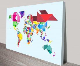tangram abstract world map by michael tompsett wall art canvas
