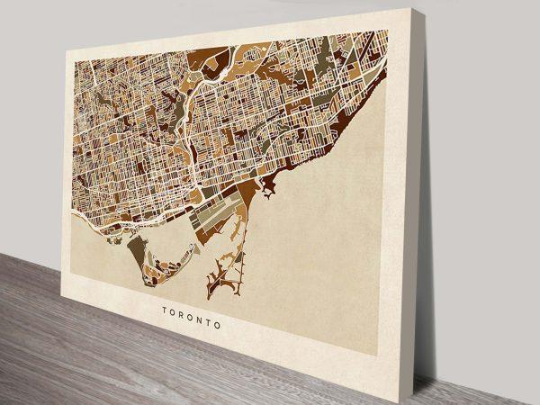 toronto street map canvas art