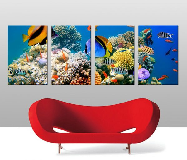 underwater 4 panel wall art canvas print