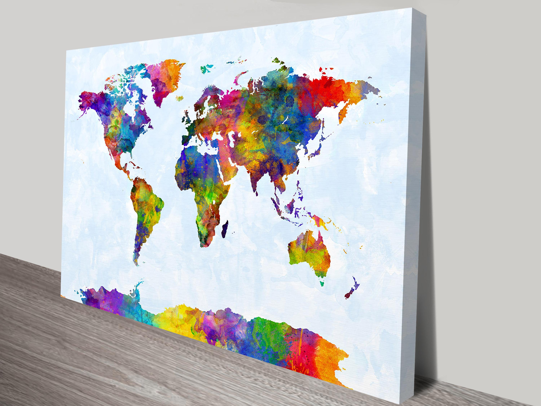 Watercolour Map Of The World Art Print By Michael Tompsett Au