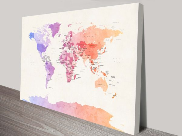 watercolour political map of the world by michael tompsett wall art canvas