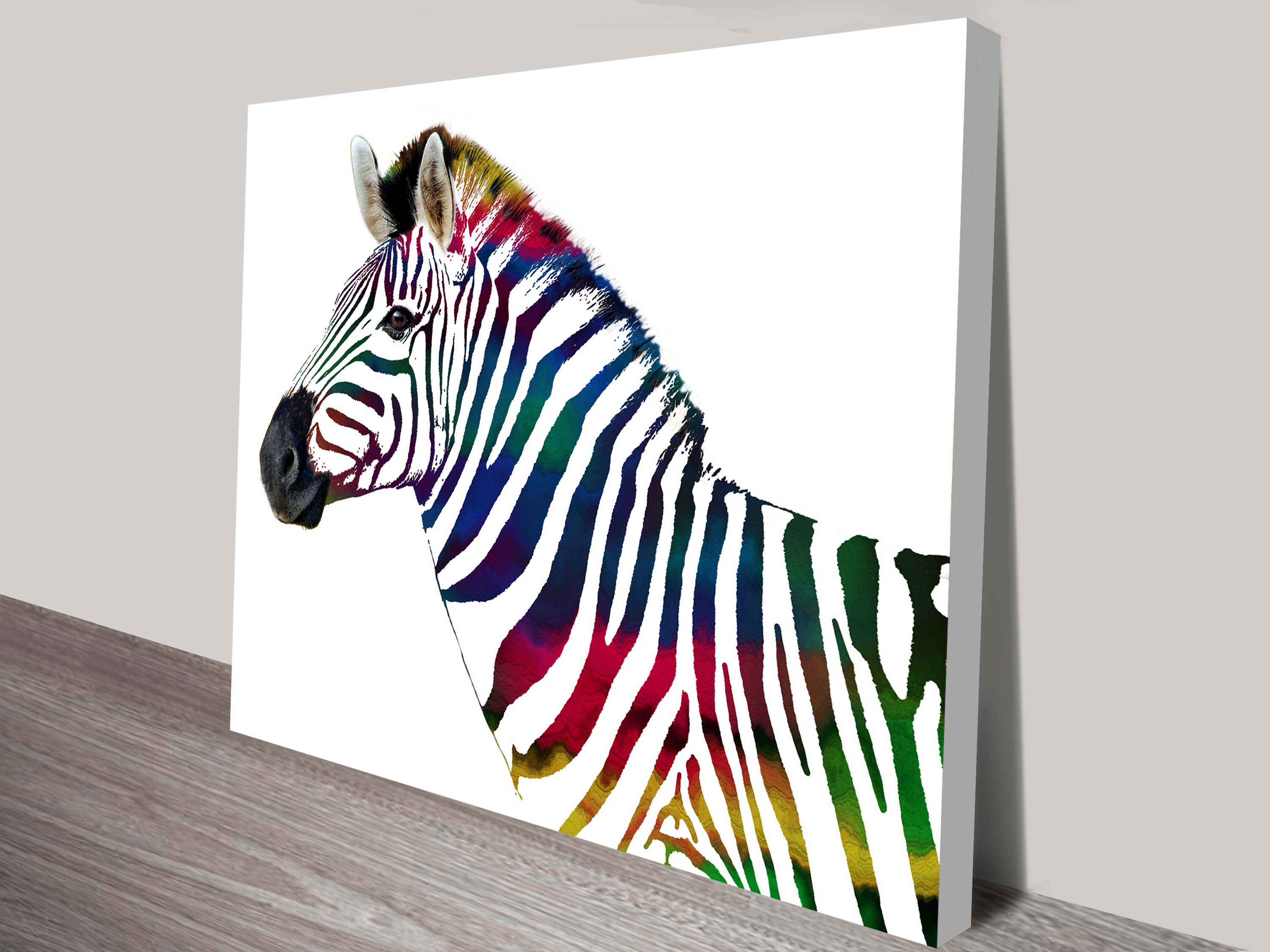 The Rainbow Striped Zebra Animal Art