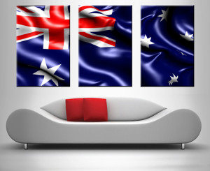 australian flag triptych wall art print on canvas