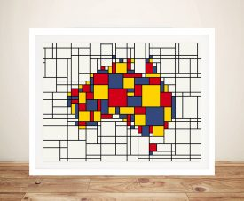 Mondrian Inspired Australia Map Art Michael Tompsett