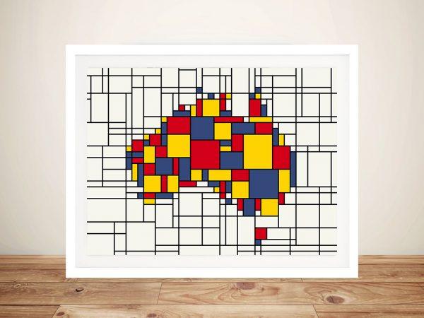 Mondrian Inspired Australia Map Art Michael Tompsett