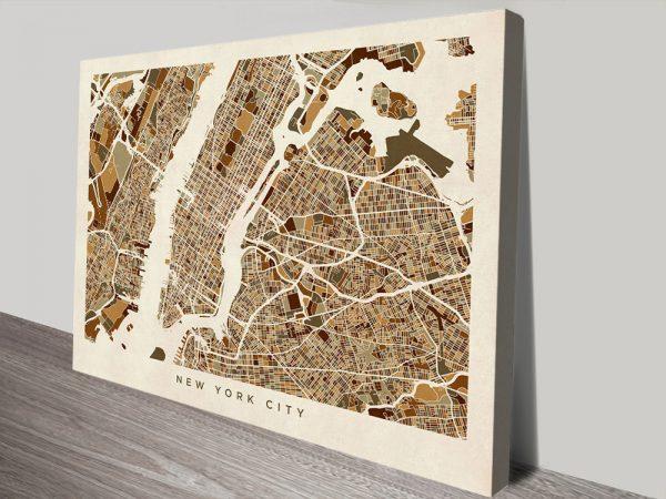 Buy New York City Street Map Wall Art Gift Ideas AU
