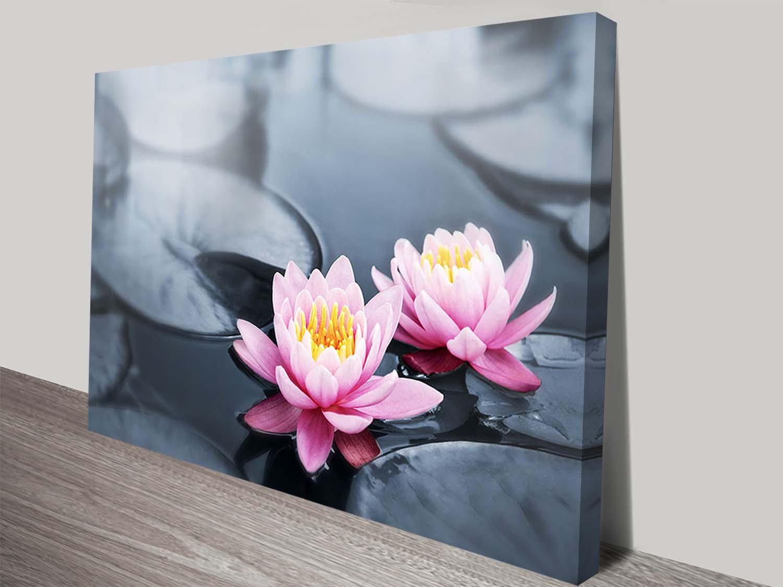 Floating Lotus Flowers Floral Canvas Art Print