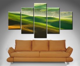 green rolling hills 5 panel wall art print on canvas
