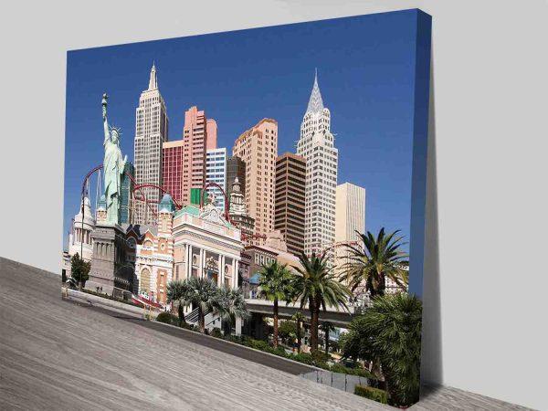 las vegas new york hotels wall art canvas