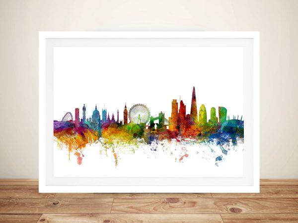 London England Skyline Watercolour Framed Wall Art