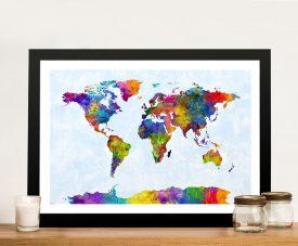 Watercolour Map of the World Map Canvas Art Australia