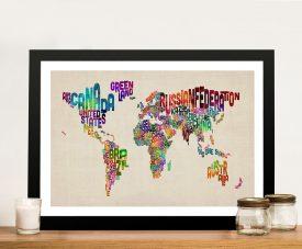 text map of the world by michael tompsett canvas print australia
