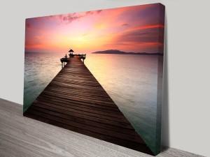 sunset pier wall art canvas australia