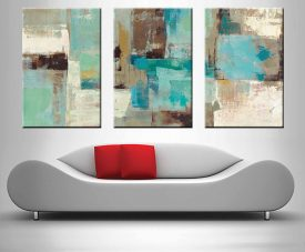 teal and aqua abstract print on canvas online