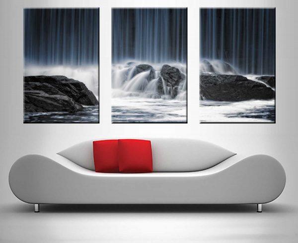 waterfall crashing onto rocks triptych best custom prints