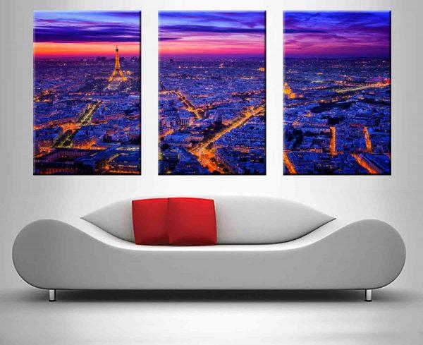 paris at dusk triptych wall art custom print