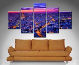 paris at dusk 5 panel custom photo wall art