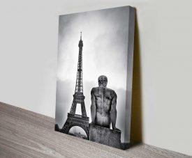 the eiffel statue photo on canvas art print