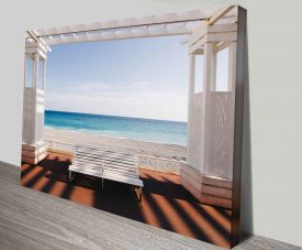 lifes a beach photo into canvas wall art