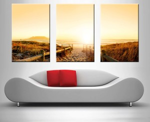 beach pathway triptych photo print into canvas