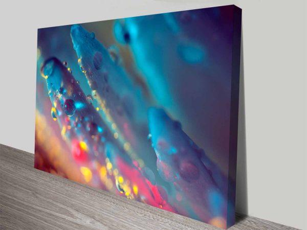 electric blue floral dew custom canvas art