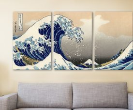 Hokusai A big wave off Kanagawa 3 Panels Art