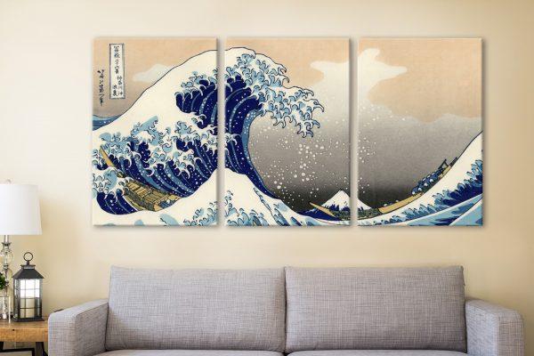 Hokusai A big wave off Kanagawa 3 Panels Art