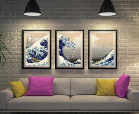 Hokusai Great wave Triptych canvas prints