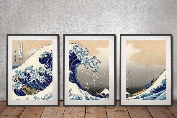 Hokusai Great wave off Kanagawa Triptych canvas