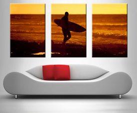 sunset surfer triptych custom photo wall art