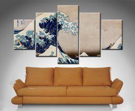 The Great Wave off Kanagawa 5 panel wall art prints